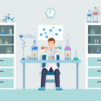 Лаборант смешивает жидкости в пробирках