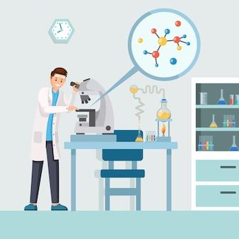 Исследователь ученый изучает результаты испытаний, структура молекулы в микроскоп
