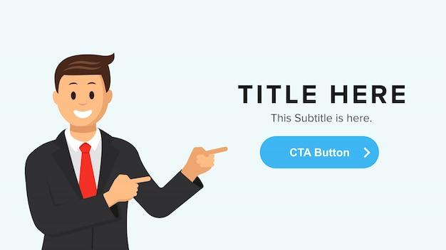 ボタンを指している男とランディングページテンプレート。