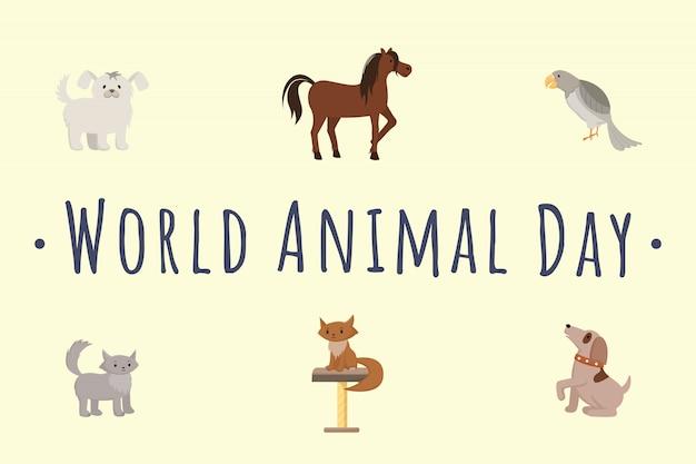 国際動物の日テンプレート。漫画の猫、犬、馬、孤立したオウムのイラスト