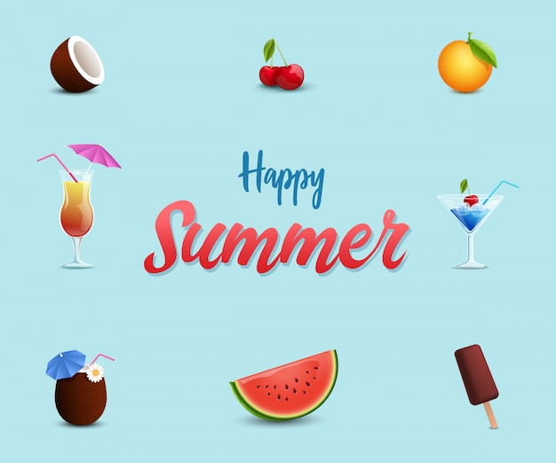 ビーチカフェバナーテンプレート。甘い夏のデザート、スイカ、アイスクリーム、チェリー
