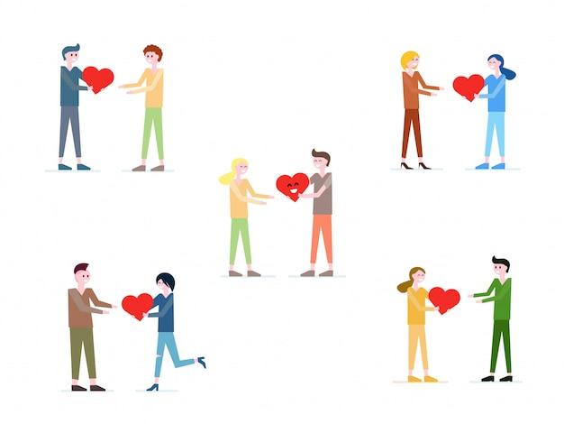 Векторная коллекция людей, дающих красное сердце друг другу.