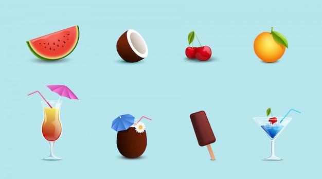 夏の食べ物、飲み物セット