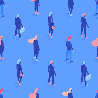 オフィスワーカー、マネージャー等尺性シームレスパターン。企業労働者の背景、包装紙