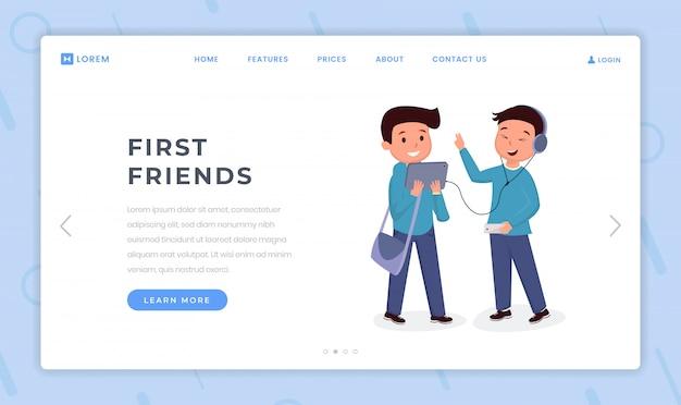 最初の友人の着陸ページフラットテンプレート。同級生、男子学生の友情のウェブサイトのホームページ