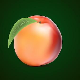 Спелый персик с зелеными листьями