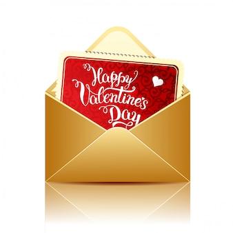 幸せなバレンタインデーと金の封筒をレタリング元の手でカード