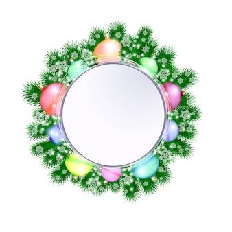 白い背景の上のクリスマスの装飾的な花輪