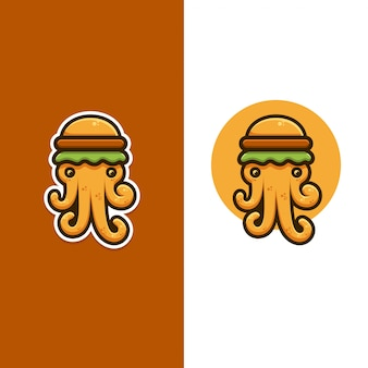 Логотип осьминога и бургера