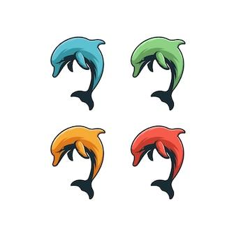 Концепция иллюстрации дельфинов.