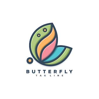蝶のロゴの概念イラストデザイン