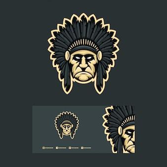 Начальник логотипа дизайн концепции иллюстрации.