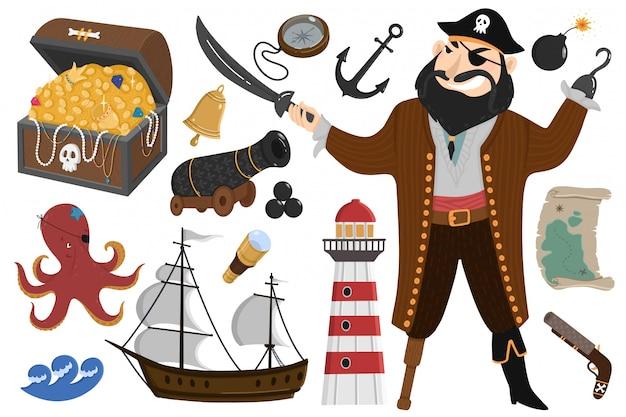 Пиратский набор в мультяшном стиле