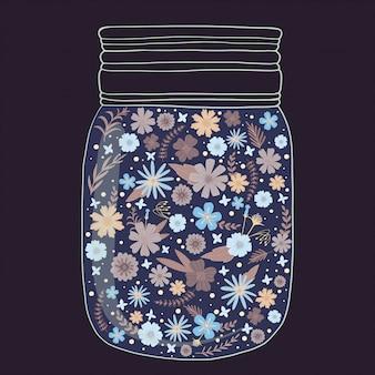 Красивые яркие цветы в баночке