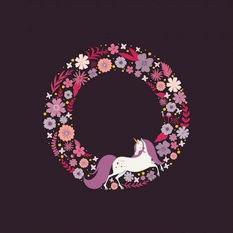 花に囲まれた魔法のユニコーンとかわいいラウンドフレーム。