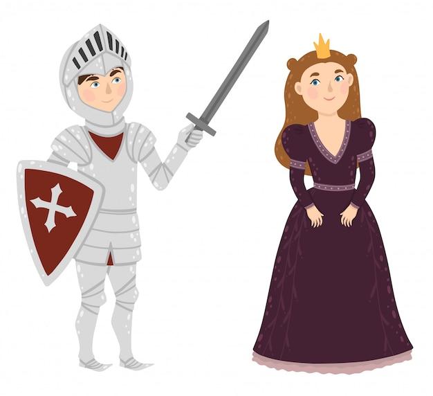 勇敢な騎士と王女。中世のキャラクター。