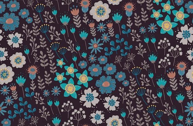 Красивый цветочный узор с цветком. цветочные бесшовные фон для модных принтов. элегантный вектор текстуры.