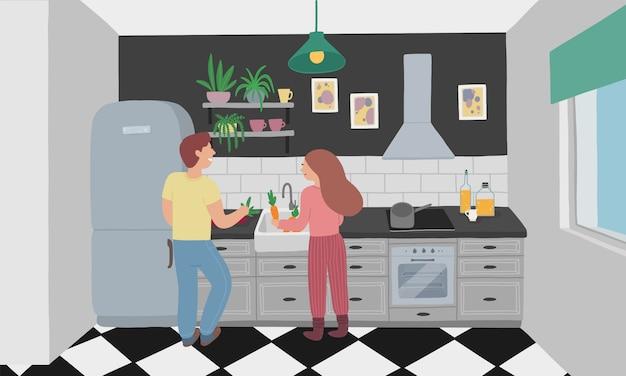 夫と妻が一緒に料理する