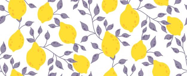 Бесшовный фон с желтыми фруктами и листьями лимона