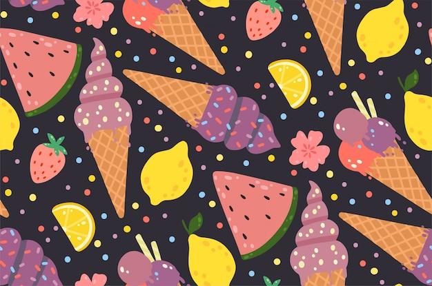 アイスクリーム、レモン、イチゴ、花、スイカの夏シームレスパターン。
