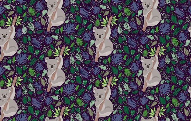 葉に囲まれたかわいいコアラ。夏ベクトルトレンディなスタイルのシームレスパターン