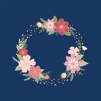 野生の花の背景の花輪。夏の装飾フレーム。