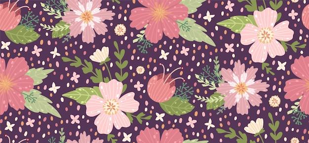 花を持つ美しい花柄。ファッションプリントの花柄シームレス背景。