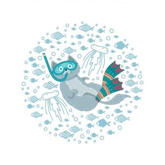 魚に囲まれた水泳用猫とかわいいラウンドフレーム。足ひれとマスクで猫のダイビング。