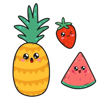 かわいいフルーツが日本のかわいいスタイルに設定されています。幸せなイチゴ、スイカ、パイナップルの漫画のキャラクターが分離された面白い顔