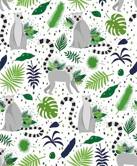 熱帯のヤシの葉に囲まれたキツネザル。エレガントな夏ベクターのシームレスパターンテクスチャ