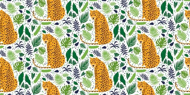熱帯のヤシの葉に囲まれたヒョウ。エレガントな夏ベクターのシームレスパターン