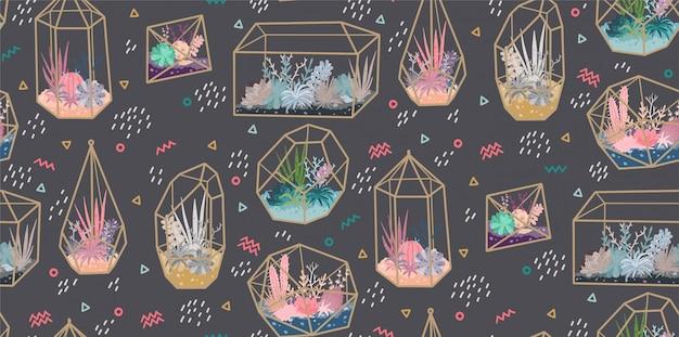 植物、多肉植物、サボテンと幾何学的テラリウムとのシームレスなパターン。スカンジナビア風の家の装飾。ガラスクリスタルフローリア