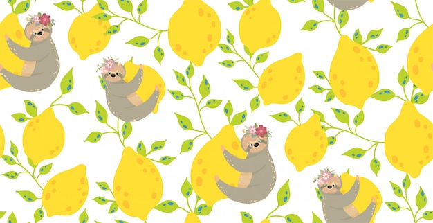 黄色いレモンのかわいいナマケモノ。美しいシームレスパターン図。