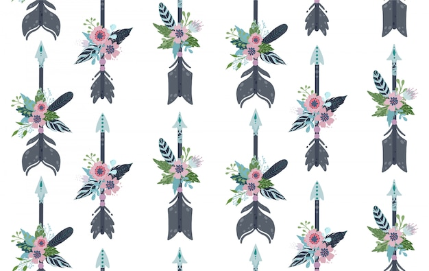 Этнические перья, стрелы и цветы бесшовные модели.