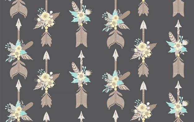 Этнические перья, стрелы и цветы бесшовные модели. богемный стиль векторная иллюстрация