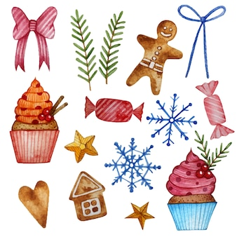 ジンジャーブレッド、マフィン、キャンディーでクリスマスの水彩セット。