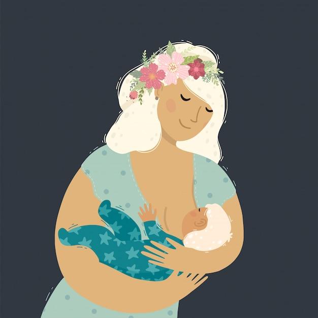 彼女の赤ん坊の子供を母乳で育てる美しい母親。彼女の思いやりのある手で女性持株子供。