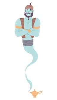 魔法のランプから幸せなアラビアの魔神キャラクター