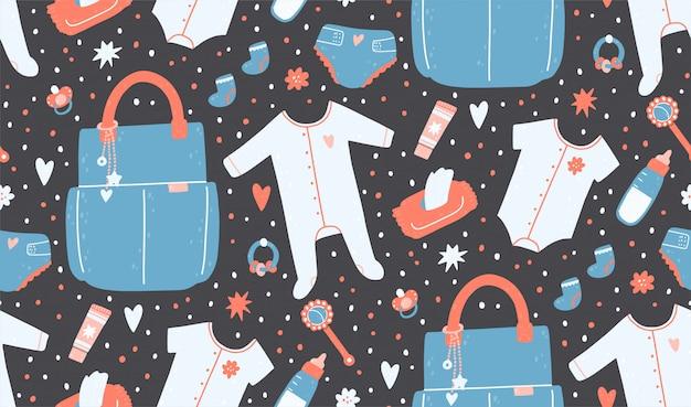 Бесшовный фон с сумкой, салфетки, пеленки, погремушки, одежда, бутылка, крем.