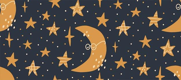 Нарисованная рукой иллюстрация картины вектора безшовная ночного звездного неба. скандинавский стиль плоский дизайн для детей. концепция детского текстиля, упаковки, обоев