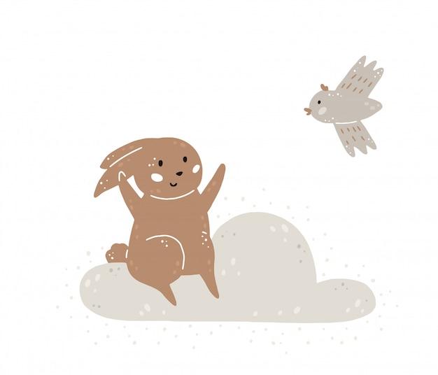 Векторная иллюстрация с милым кроликом, облаком и птицей