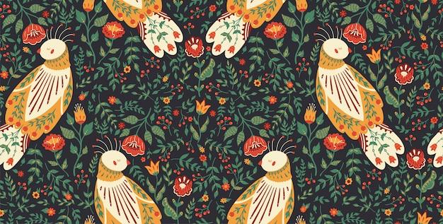 かわいい民鳥と美しい花の花輪のシームレスなパターン図。