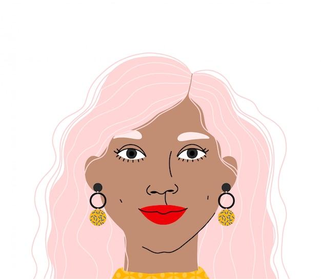 美しい女性の肖像画。白い背景で隔離の女の子の顔のイラスト。女性キャラフラットイラスト