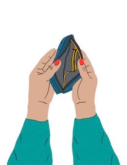 女性の手が空の財布を持っています。お金の不足、経済危機、貧困。財政問題、事業破滅、失業問題。