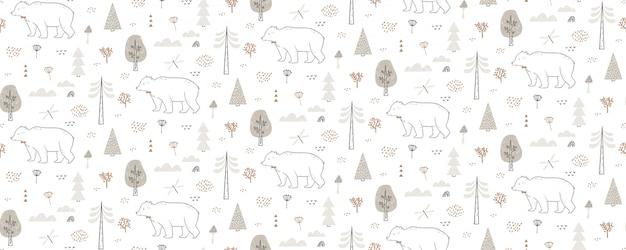 クマ、トンボ、雲、木とのシームレスなパターン。手描きの森のパターンは際限なく繰り返されています。
