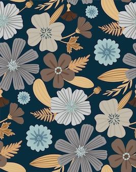 シームレスな花柄。美しいハーブと花。ファッションプリントの花の背景。