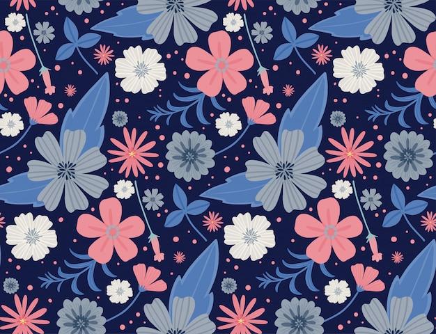 シームレスな花柄。美しいハーブと花、花の要素。シームレスなベクターテクスチャです。