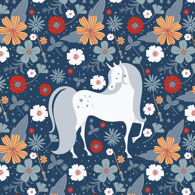 花に囲まれた美しいユニコーン。グリーティングカード。魔法のユニコーンベクトルポスター。