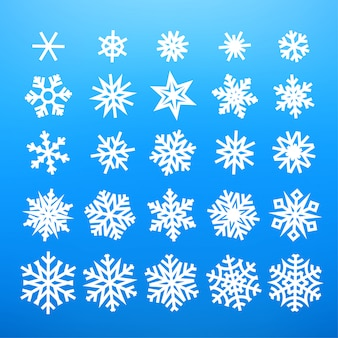 Зимние белые снежинки