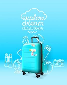 Синий пластиковый чемодан на синем фоне. исследуй мечту, открывай